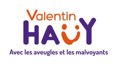 Logo de l'associaton Valentin Haüy, avec les aveugles et les mal voyants