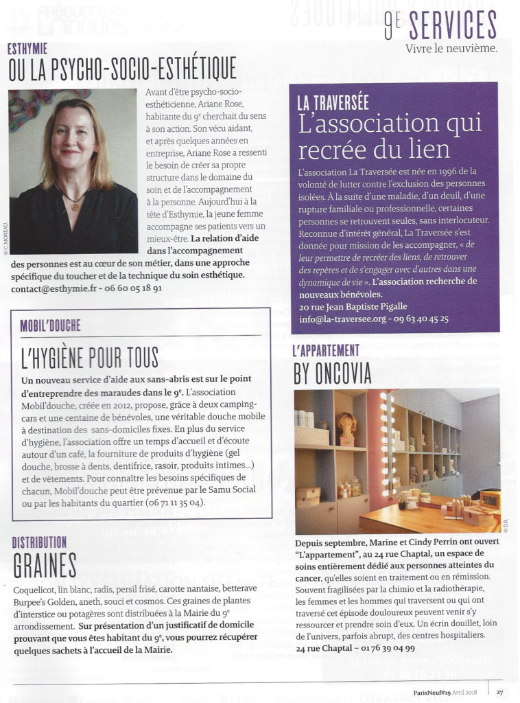 Le magazine Paris 9 présente mon activité de PSE